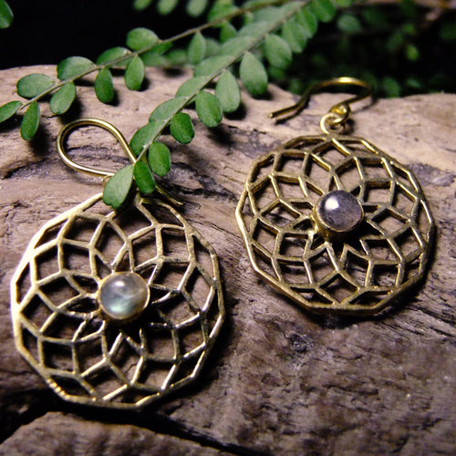 Rihu Brass Earrings-JEWELLERY / EARRINGS-Gopal Brass Man (IND)-Labradorite-The Outpost NZ