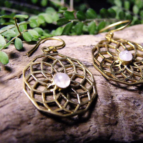Rihu Brass Earrings-JEWELLERY / EARRINGS-Gopal Brass Man (IND)-Moonstone-The Outpost NZ