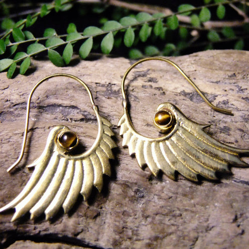 Rika Wing Brass Earrings-JEWELLERY / EARRINGS-Gopal Brass Man (IND)-Tigers Eye-The Outpost NZ