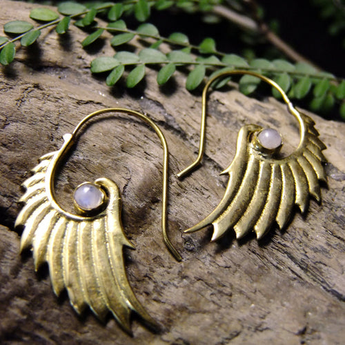 Rika Wing Brass Earrings-JEWELLERY / EARRINGS-Gopal Brass Man (IND)-Moonstone-The Outpost NZ