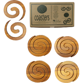 Rimu Split Swirl Coasters Set-NZ HOMEWARES-Romeyn Woodcrafts (NZ)-The Outpost NZ