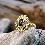 Riva Stone Brass Ring-JEWELLERY / RINGS-Gopal Brass Man (IND)-Amethyst-The Outpost NZ