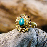 Riva Stone Brass Ring-JEWELLERY / RINGS-Gopal Brass Man (IND)-Howlite-The Outpost NZ