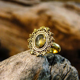 Riva Stone Brass Ring-JEWELLERY / RINGS-Gopal Brass Man (IND)-Labradorite-The Outpost NZ