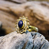Riva Stone Brass Ring-JEWELLERY / RINGS-Gopal Brass Man (IND)-Lapis Lazuli-The Outpost NZ