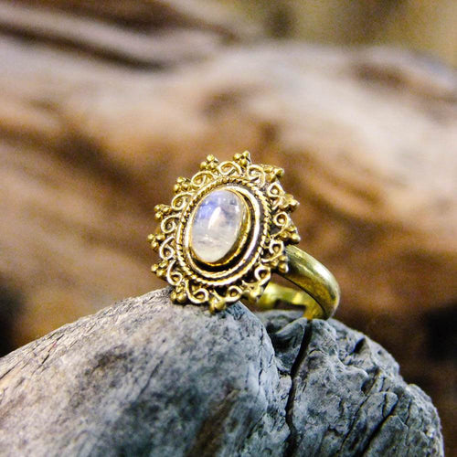 Riva Stone Brass Ring-JEWELLERY / RINGS-Gopal Brass Man (IND)-Moonstone-The Outpost NZ