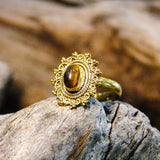 Riva Stone Brass Ring-JEWELLERY / RINGS-Gopal Brass Man (IND)-Tigers Eye-The Outpost NZ