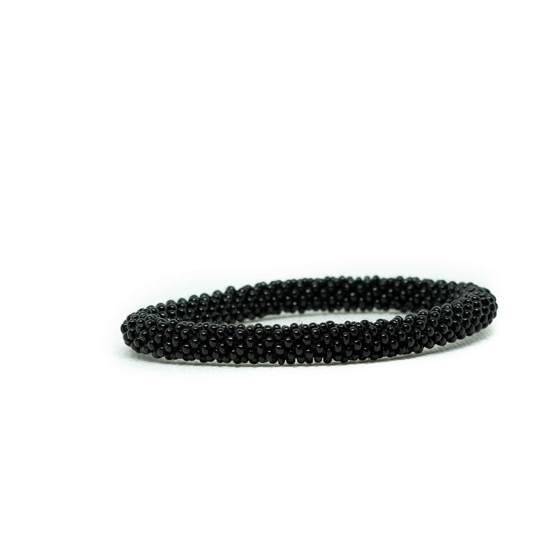 Roll on Bracelet-JEWELLERY / BRACELET-Glass Beads (NEP)-Black-The Outpost NZ