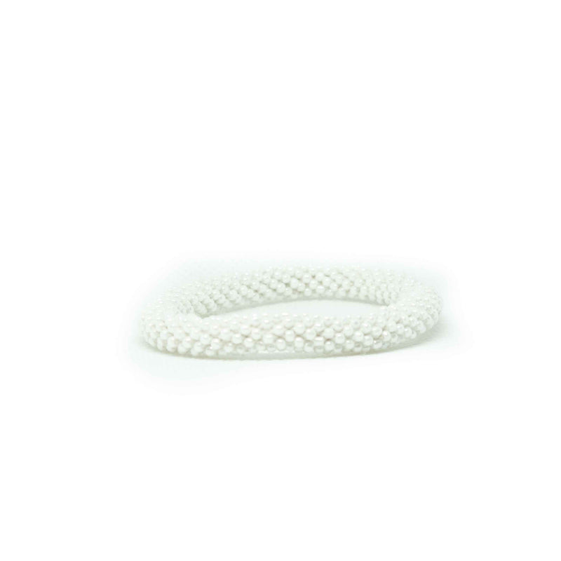 Roll on Bracelet-JEWELLERY / BRACELET-Glass Beads (NEP)-White-The Outpost NZ