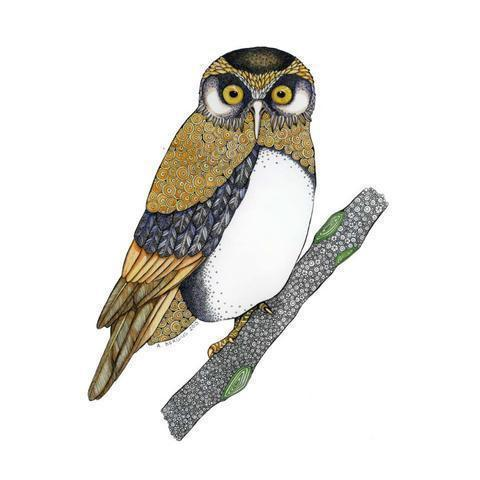 Ruru Morepork Print-NZ ART-Ana Lee Bergius (NZ)-The Outpost NZ