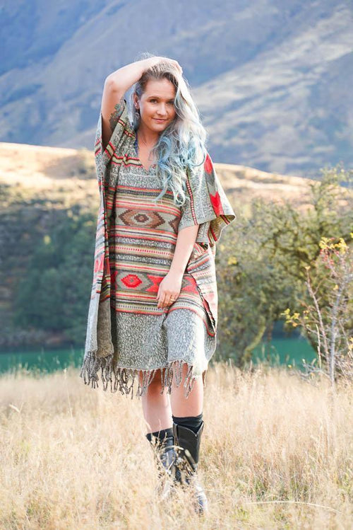 Sage Square Poncho-CLOTHING / PONCHO-ASBA Exports (IND) discontinue-Brush-Olive-The Outpost NZ
