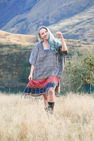 Sage Square Poncho-CLOTHING / PONCHO-ASBA Exports (IND) discontinue-Checkered-Blue-The Outpost NZ