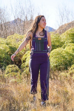 Sascha Stripey Dungarees-CLOTHING / DUNGAS-The Look Fashion (NEP)-Purple-XL-The Outpost NZ