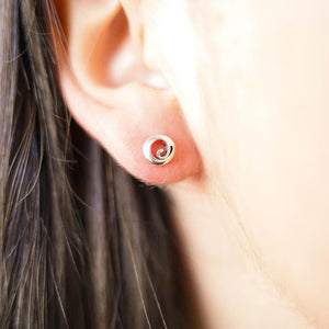 Scroll Koru Silver Stud Earrings-JEWELLERY / EARRINGS-Mimi Silver (THA)-The Outpost NZ