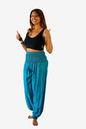 Secret Pocket Smock Pants-CLOTHING / PANTS-DP Fashion (THA)-Teal-The Outpost NZ