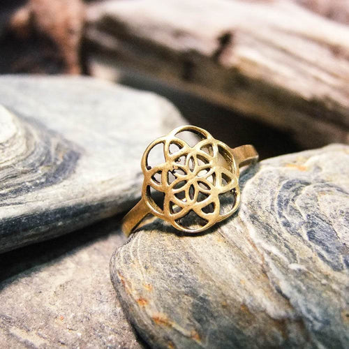 Seed of Life Ring-JEWELLERY / RINGS-Gopal Brass Man (IND)-Brass-The Outpost NZ
