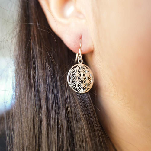 Seed of Life Silver Drop Earrings-JEWELLERY / EARRINGS-Mimi Silver (THA)-The Outpost NZ