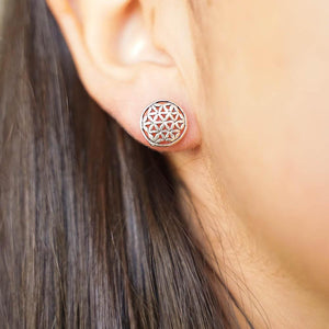 Seed of Life Silver Stud Earrings-JEWELLERY / EARRINGS-Mimi Silver (THA)-The Outpost NZ