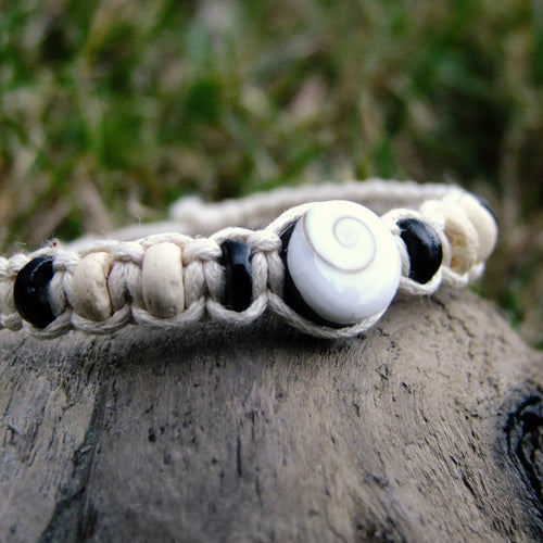 Shiva Shell Handwoven Bracelet-JEWELLERY / BRACELET-Wattanaporn (THA)-Natural-The Outpost NZ