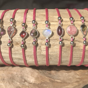 Silver Link Bracelet-JEWELLERY / BRACELET-1000 Design (THA)-Mini Stone-Cord-Light Pink-The Outpost NZ