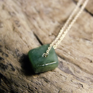 Simple Greenstone Silver Necklace-JEWELLERY / NECKLACE & PENDANT-1000 Design (THA)-The Outpost NZ