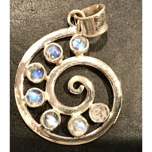 Snail Stone Silver Pendant-JEWELLERY / NECKLACE & PENDANT-Not specified-Moonstone-The Outpost NZ