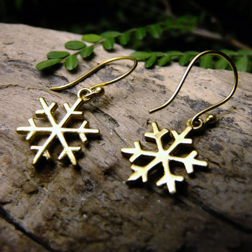 Snowflake Brass Earring-JEWELLERY / EARRINGS-Not specified-The Outpost NZ