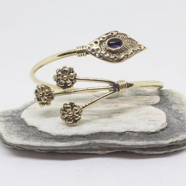 Sprig Stone Brass Bangle-JEWELLERY / BANGLE-Gopal Brass Man (IND)-Amethyst-The Outpost NZ