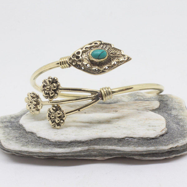 Sprig Stone Brass Bangle-JEWELLERY / BANGLE-Gopal Brass Man (IND)-Howlite-The Outpost NZ
