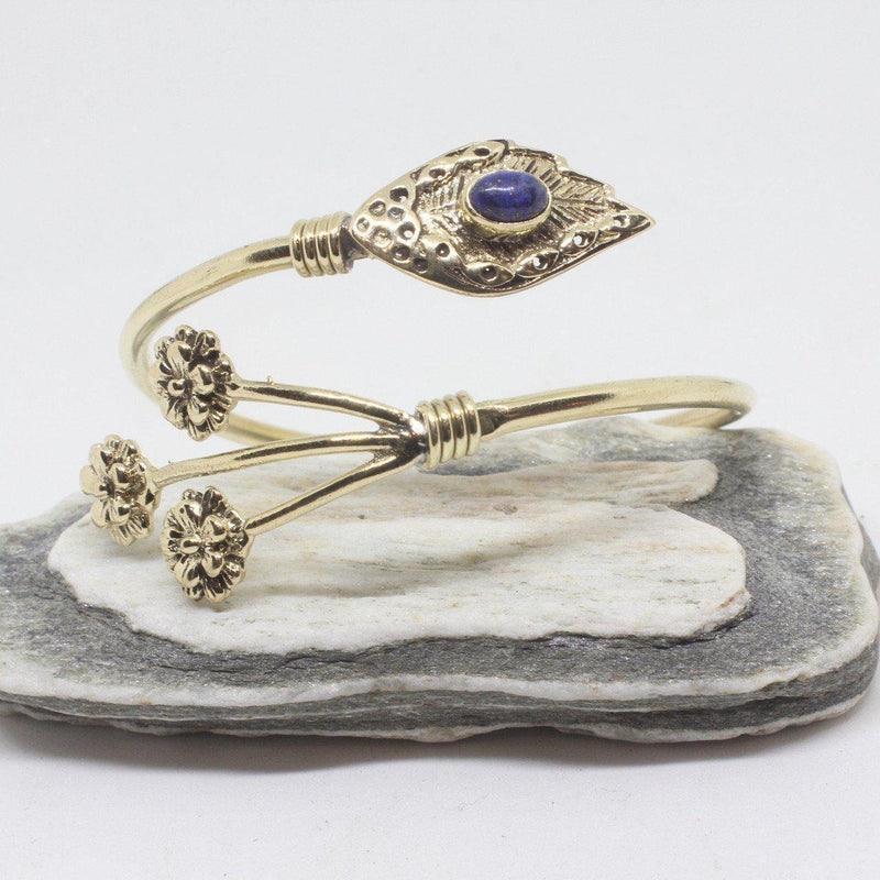 Sprig Stone Brass Bangle-JEWELLERY / BANGLE-Gopal Brass Man (IND)-Lapis Lazuli-The Outpost NZ