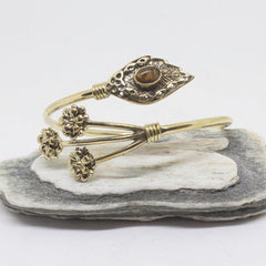 Sprig Stone Brass Bangle-JEWELLERY / BANGLE-Gopal Brass Man (IND)-Tigers Eye-The Outpost NZ