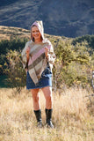 Stripe Brushed Poncho-CLOTHING / PONCHO-The Look Fashion (NEP)-Hot Mix-The Outpost NZ