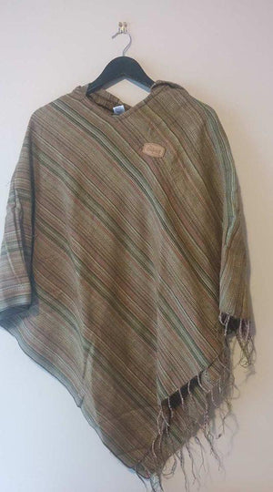Striped Poncho-CLOTHING / PONCHO-Fancy Cloth House (IND)-Purple-The Outpost NZ