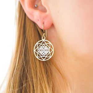 Sun Mandala Earrings-JEWELLERY / EARRINGS-Gopal Brass Man (IND)-Brass-The Outpost NZ
