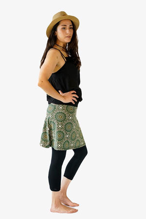 Sunshine Mini Skirt-CLOTHING / SKIRT-Sunshine (THA)-Leaf Mandala-Green-The Outpost NZ