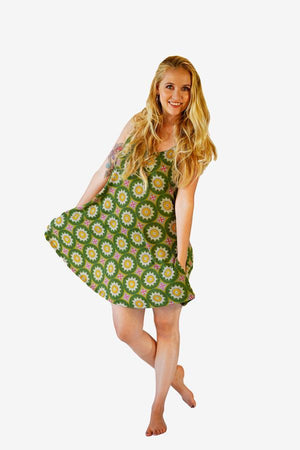 Sunshine Strappy Dress-CLOTHING / DRESS-Sunshine (THA)-Petal Mandala-Green-The Outpost NZ