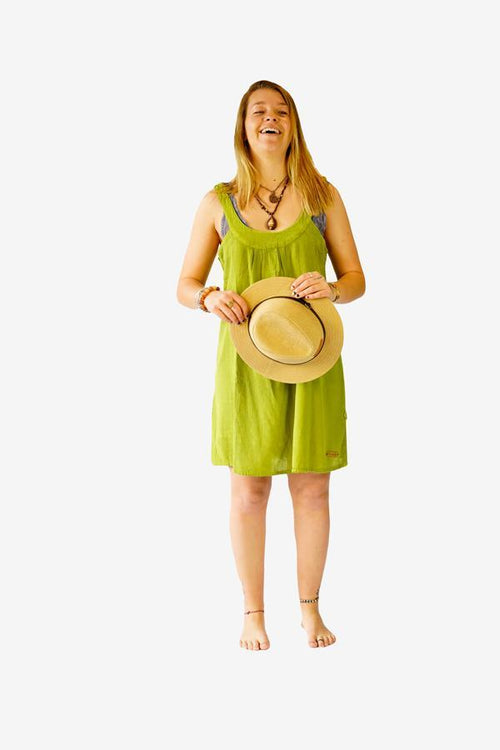 Sweet Cotton Dress-CLOTHING / DRESS-Choice Fashion (NEP)-Lime-The Outpost NZ