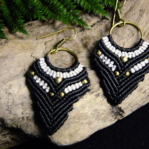 Tapered Macrame Earrings-JEWELLERY / EARRINGS-Ganesh Macrame (IND)-Black-The Outpost NZ