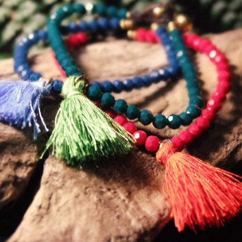 Tassle Bead Bracelet-JEWELLERY / BRACELET-Stone Beads (THA)-Blue-The Outpost NZ