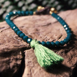 Tassle Bead Bracelet-JEWELLERY / BRACELET-Stone Beads (THA)-Green-The Outpost NZ