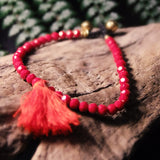 Tassle Bead Bracelet-JEWELLERY / BRACELET-Stone Beads (THA)-Red-The Outpost NZ