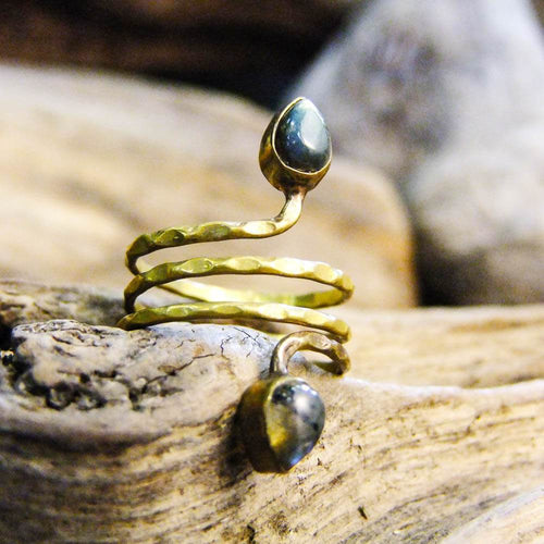 Teagan Triple Wrap Two Stone Ring-JEWELLERY / RINGS-Gopal Brass Man (IND)-Brass-The Outpost NZ