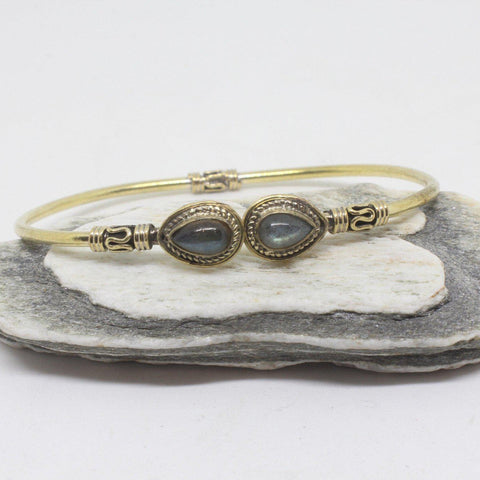 Tear Stone Brass Bangle