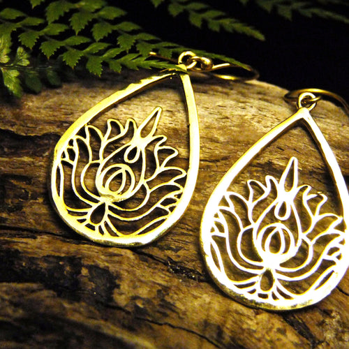 Teardrop Lotus Earring-JEWELLERY / EARRINGS-Not specified-The Outpost NZ