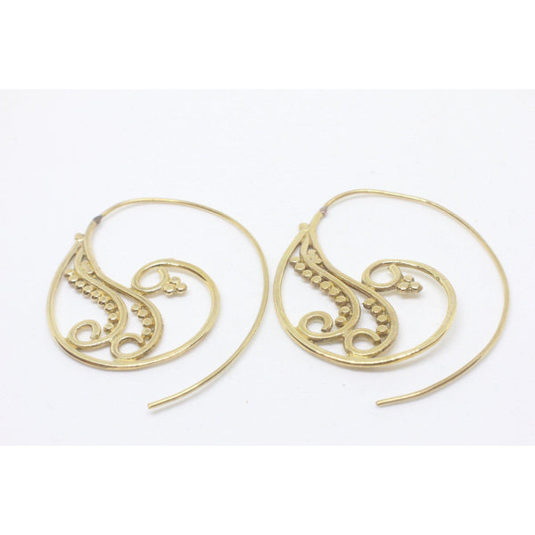 Thin Koru Brass Earrings-EARRINGS-Not specified-The Outpost NZ