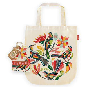 Tote Bag-NZ ACCESSORIES-TofuTree (NZ)-Colourful Birds-The Outpost NZ