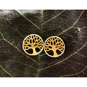 Tree of Life Studs-JEWELLERY / EARRINGS-Not specified-Brass-The Outpost NZ