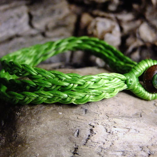 Tri Strand Wax Bracelet-JEWELLERY / BRACELET-M Square Collection (THA)-Green-The Outpost NZ