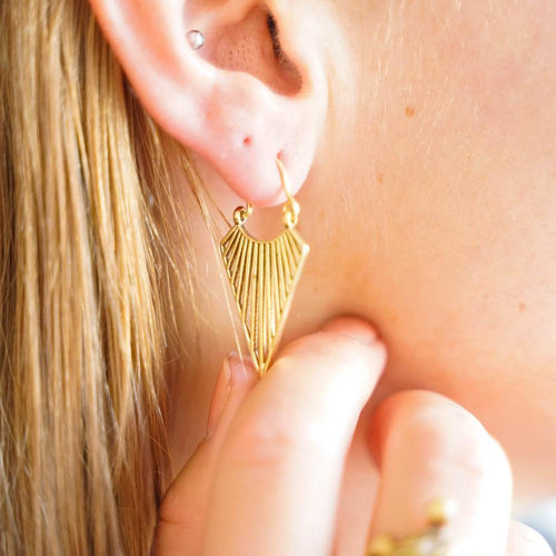 Triangle Lanakila Earring S-JEWELLERY / EARRINGS-Gopal Brass Man (IND)-Brass-The Outpost NZ