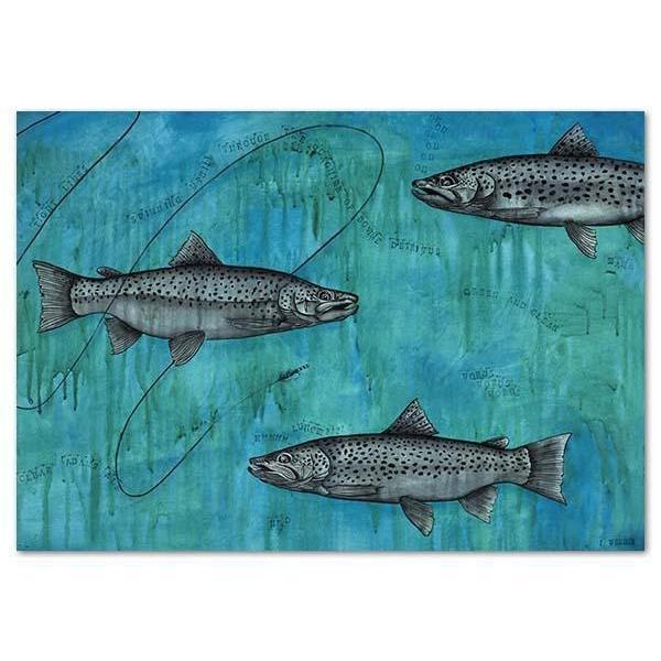 Trout - Tight Lines Canvas By Joanne Webber